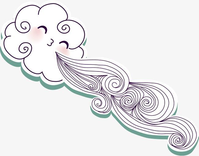 手绘精美吹气云朵