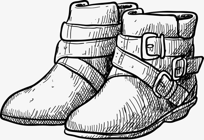 短靴手绘图鞋子鞋子素描男鞋女鞋手绘鞋鞋矢量图黑色黑色鞋子鞋短靴