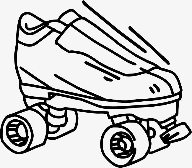 黑色轮滑鞋手绘图