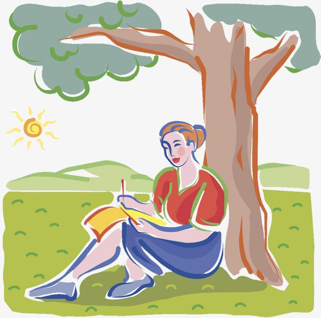 坐在草地上看书的女人素材图片免费下载_高清