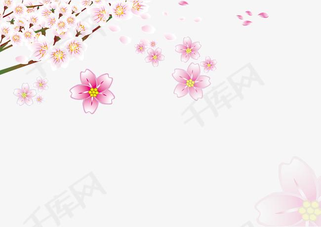 免扣手绘桃花免扣手绘桃花花瓣粉色桃花飘落的花瓣桃花树桃花飘