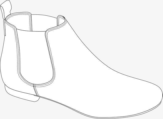 短靴手绘图鞋子素描男鞋女鞋手绘鞋鞋矢量图黑色黑色鞋子鞋靴子短靴
