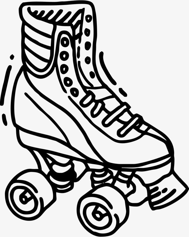 手绘轮滑鞋子图鞋子鞋子素描男鞋女鞋手绘鞋鞋矢量图黑色黑色鞋子鞋