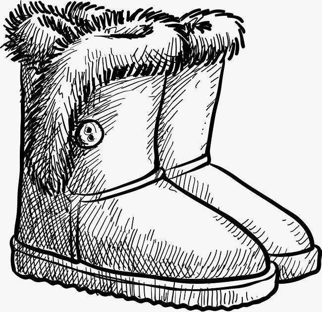 长靴手绘图鞋矢量图黑色黑色鞋子鞋短靴靴子鞋子鞋子素描男鞋女鞋手