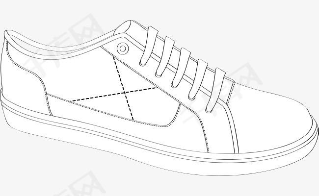 板鞋素描图鞋子鞋子素描男鞋女鞋手绘鞋鞋矢量图黑色黑色鞋子鞋-板