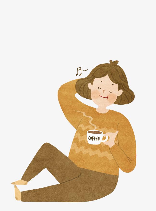 手绘喝咖啡的女孩
