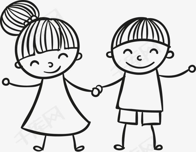 牵手的简笔画小孩素材图片免费下载 高清png 千库网 图片编号9233787
