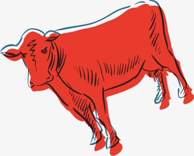 手绘红色老牛