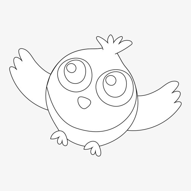 可爱线条小鸟简笔画