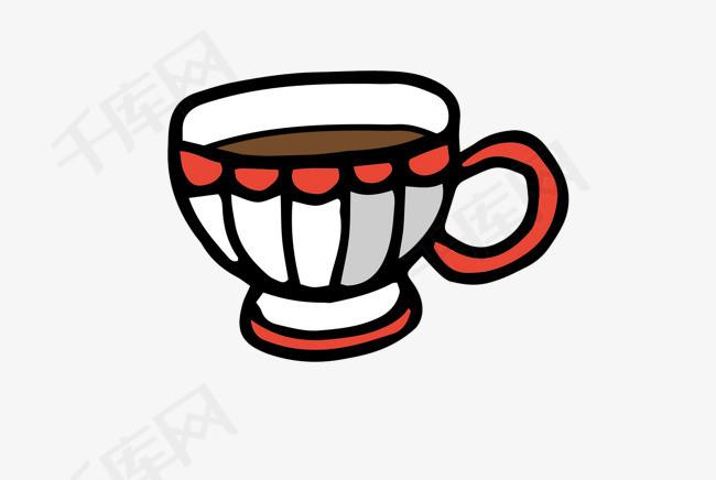手绘创意咖啡手绘咖啡一杯咖啡红白相间平面创意卡通图案