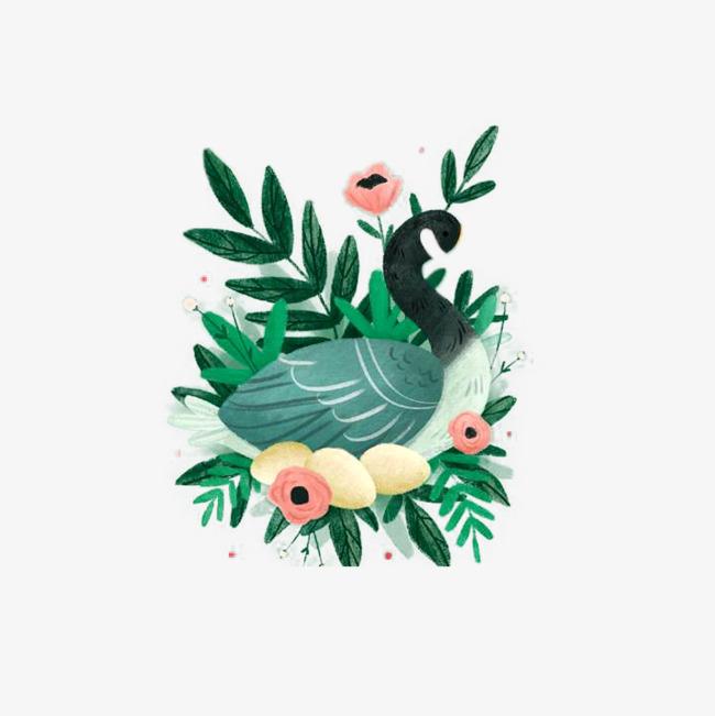 手绘绿色天鹅