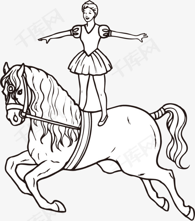 手绘简单线条人物线条人物女孩与马飞奔的马手绘平面艺术作品图片