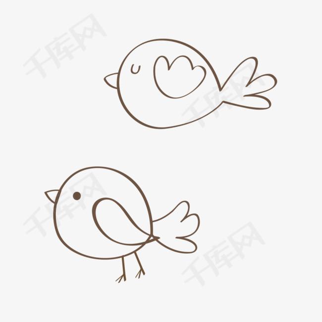 飞行鸟儿线条简笔画