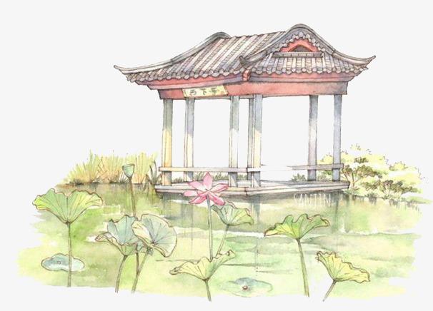10 90设计提供高清png手绘动漫素材免费下载,本次水彩亭子作品为设计
