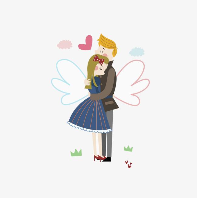 手绘拥抱的情侣
