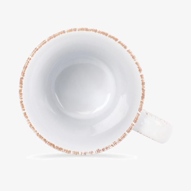 俯视咖啡杯水杯白色陶瓷杯正面