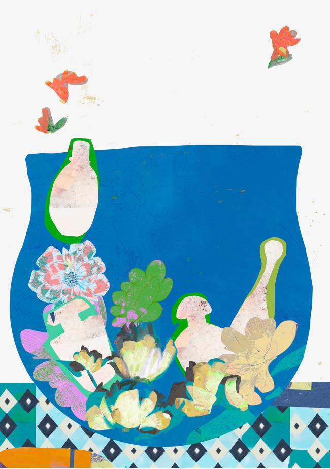 手绘抽象花盆