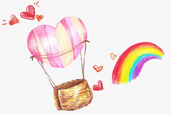 手绘彩色彩虹热气球