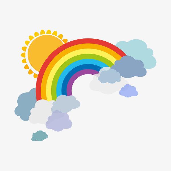 手绘卡通彩虹云彩