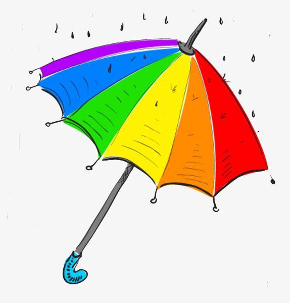 手绘彩虹伞