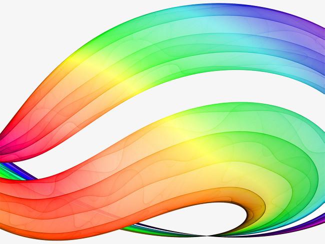 手绘彩色彩虹曲线