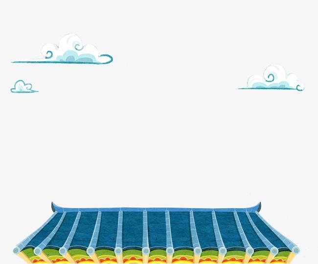 手绘蓝色屋顶屋檐png素材下载_高清图片png格式(编号