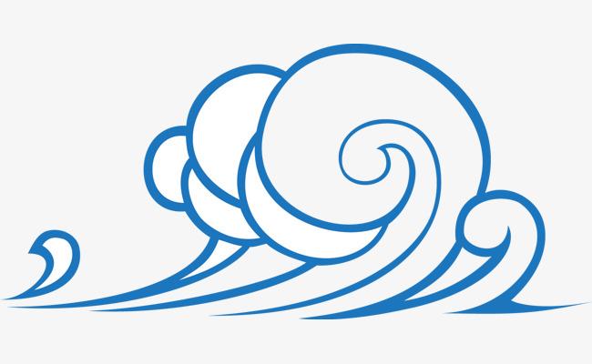 手绘精美蓝色海浪