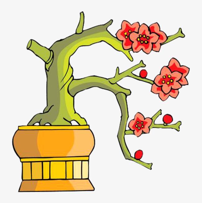梅花盆栽彩色简笔画