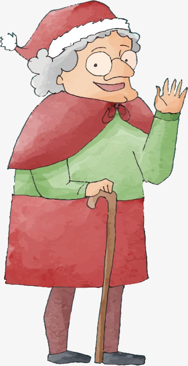 手绘圣诞老婆婆