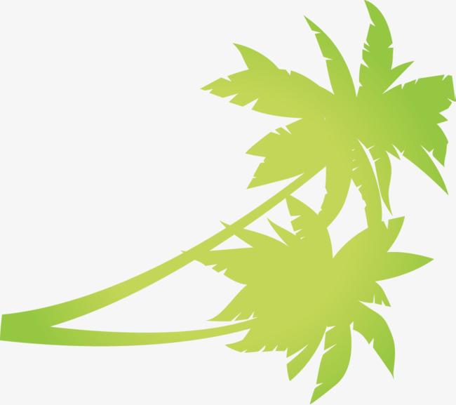 手绘绿色椰子树植物