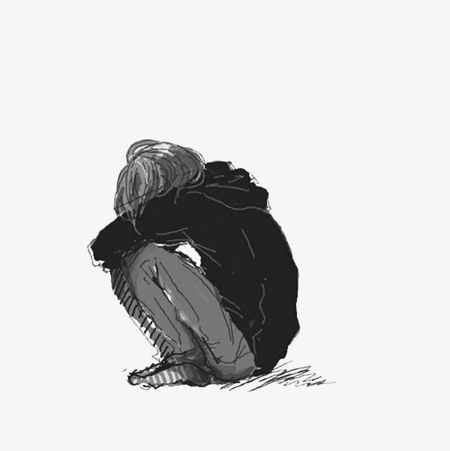 蜷缩蹲下孤独的侧影