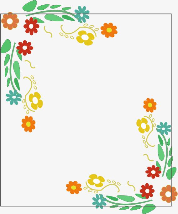 手绘小花边框