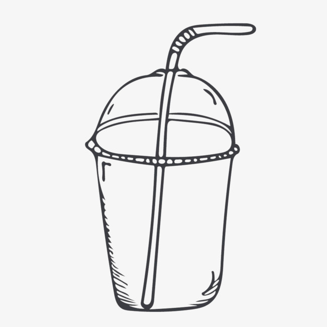 简笔画 黑白 奶茶 卡通手绘 插画 饮料 下午茶 果汁饮品 奶茶插画免