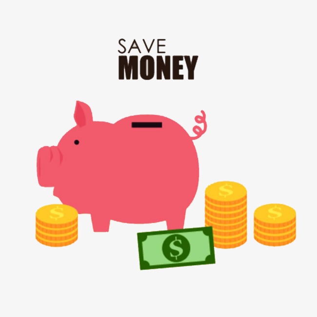 卡通 彩色手绘 粉色小猪 存钱罐 肥胖 创意 插图 商务 金币 钞票