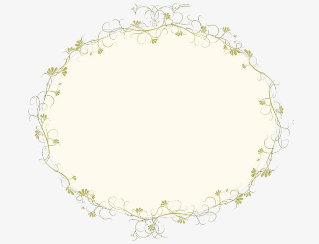 淡黄色花纹边框椭圆形图案