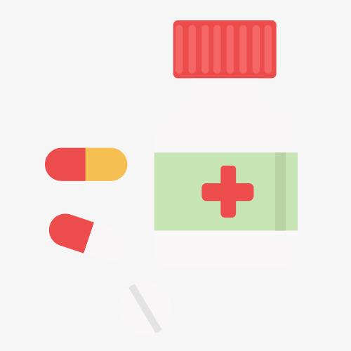 药瓶药丸卡通图