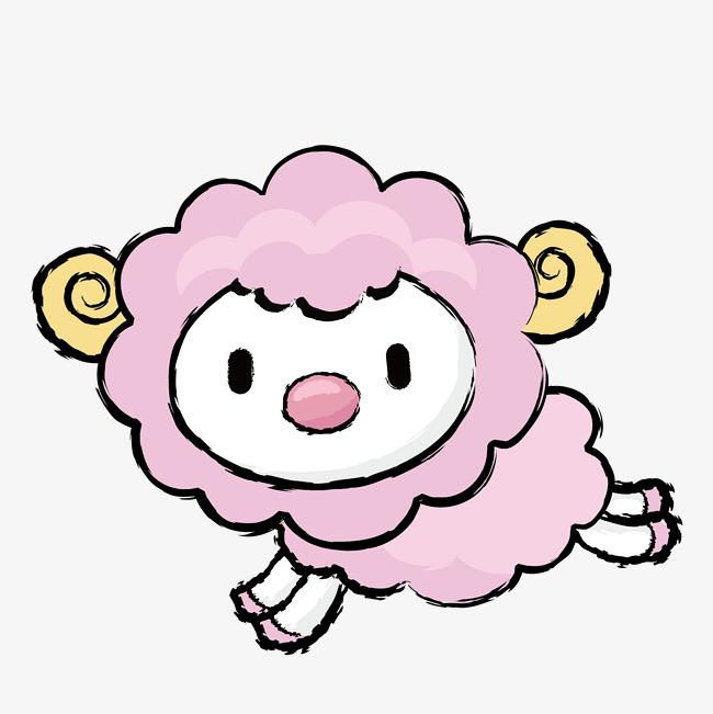粉色小羊 水彩 奔跑的 绵羊 羊毛 动物 可爱粉色小羊 水彩 奔跑的