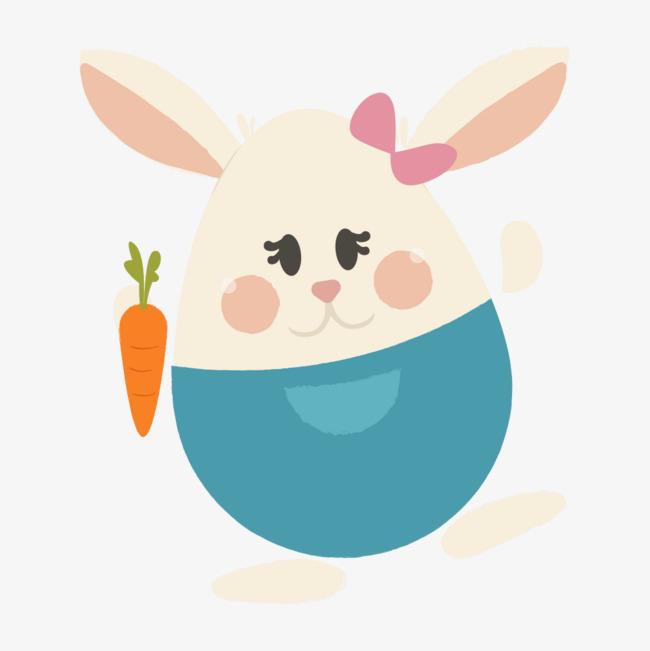卡通圆滚滚兔子和萝卜