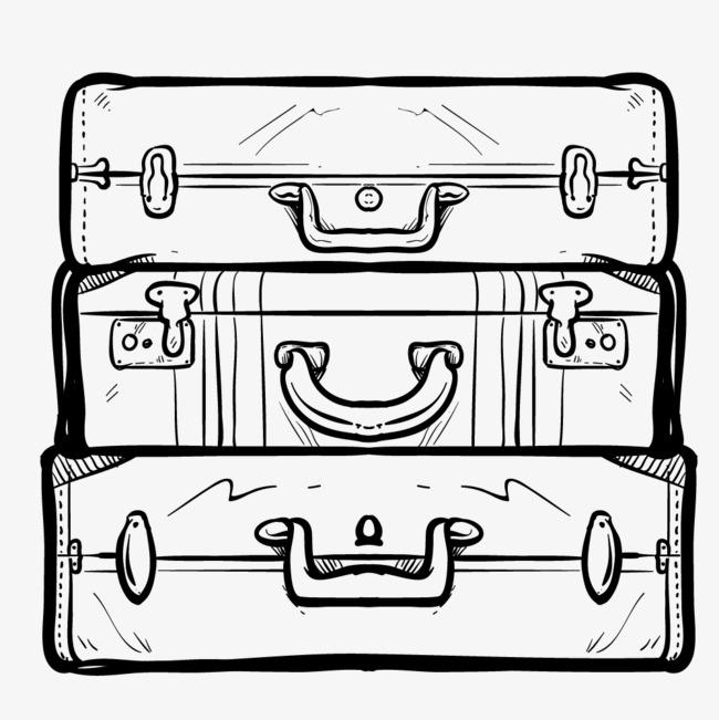 15:53 90设计提供高清png手绘动漫素材免费下载,本次水墨行李箱作品为
