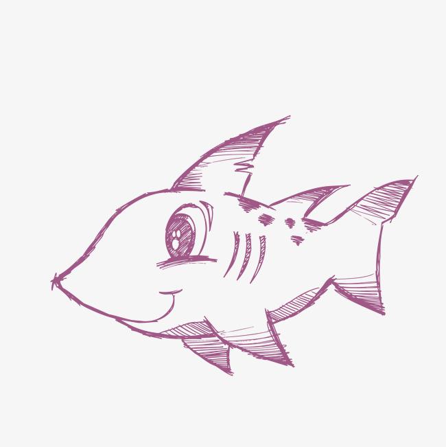 手绘可爱的小鱼