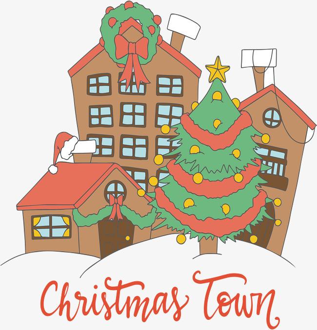 手绘卡通圣诞小镇