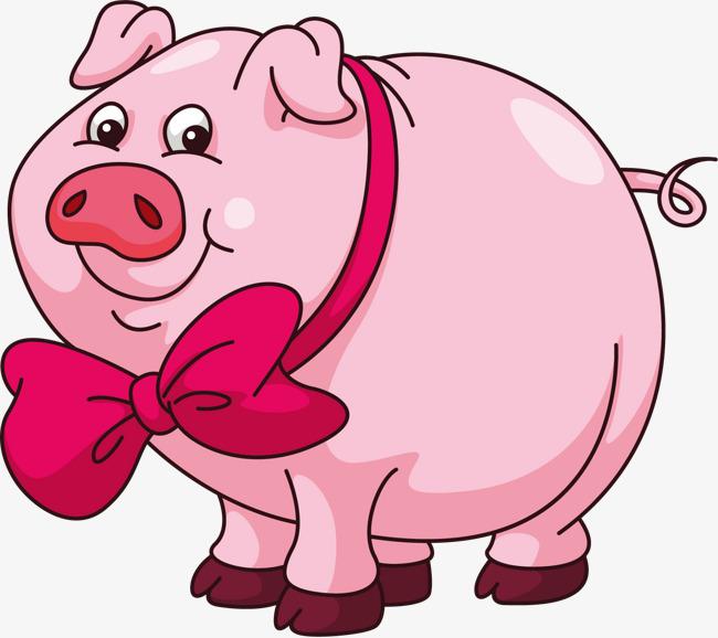 粉色 猪猪 蝴蝶结 可爱粉色 猪猪 蝴蝶结  可爱免扣素材