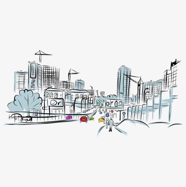 手绘城市街道素材图片免费下载 高清psd 千库网 图片编号9316078图片
