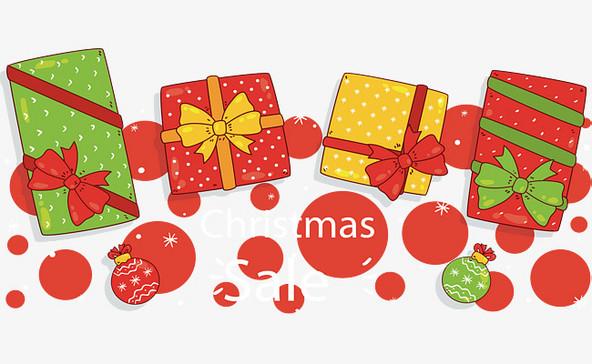 彩色手绘圣诞礼物