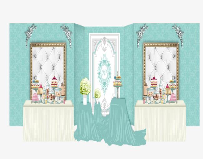 蓝色两个欧式婚礼甜品台