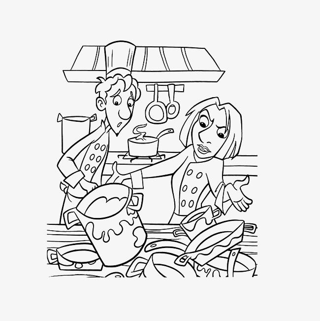 简笔手绘一团乱的厨房素材图片免费下载 高清png 千库网 图片编号9325602
