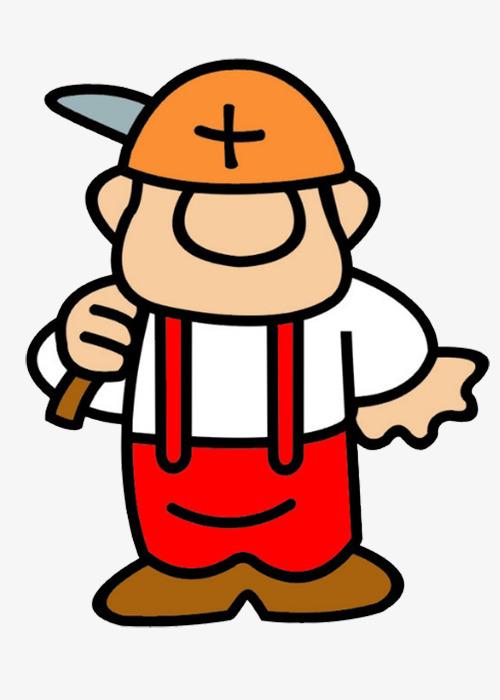 旷工卡通有趣形状矿工帽铲子图片