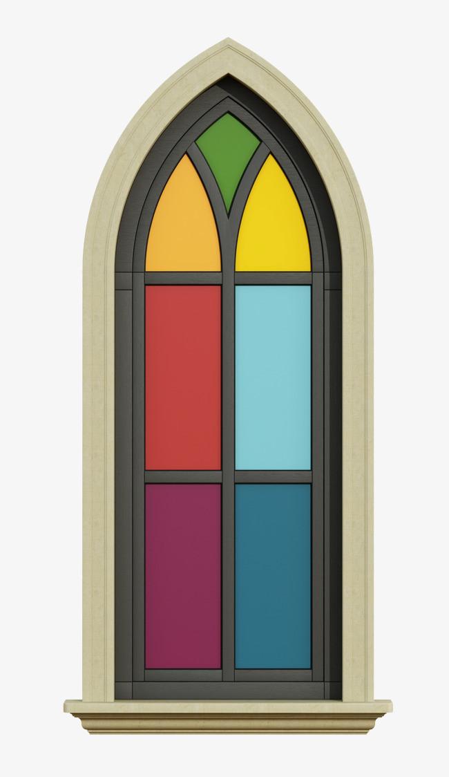 手绘彩色拱门窗