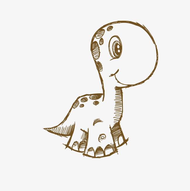 卡通简笔画小恐龙