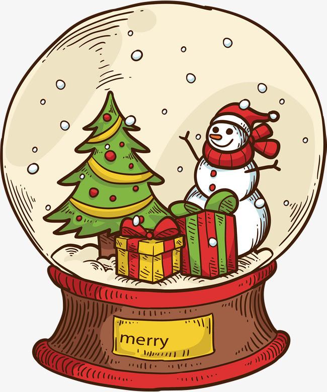 手绘落雪圣诞水晶球_png素材免费下载_ 2202*2638像素